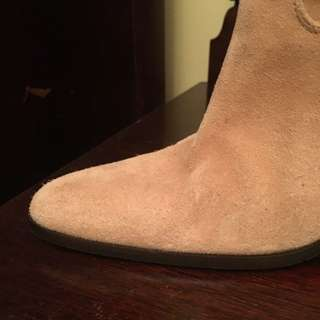 Light Tan Size 37 Spanish Swede 8cm  3/4 Boots