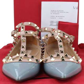 REAL PIC Valentino Grey Rockstud Ballerina Shoes