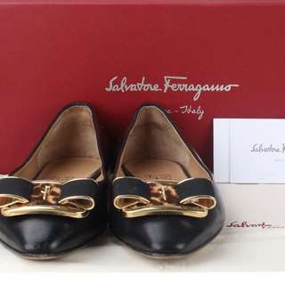 Salvatore Ferragamo Lola Black Flat Shoes