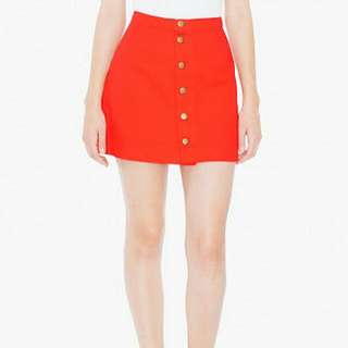 American Apparel Coloured Button Front Denim A-line Skirt