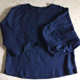 (New) Blue Linen Blouse