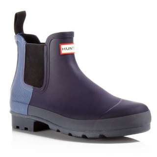 NEW Sz39 Hunter Two-tone Ribbed Chelsea Boot, Midnight/mineral Blue