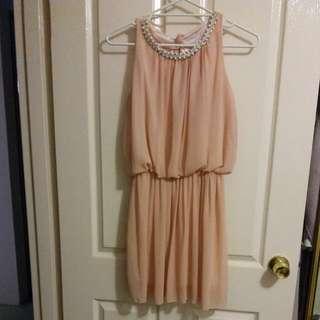 Sleeveless Peach Chiffon Dress