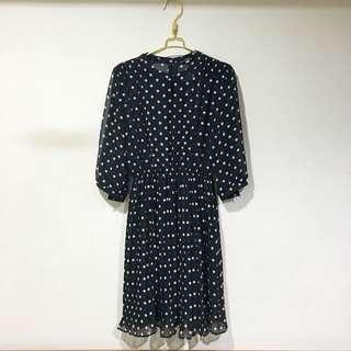 Vintage 70年代黑白水玉點點 連身雪紡混麻古著洋裝