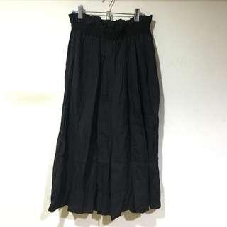 Vintage 黑色麻紗質硬挺微透長裙