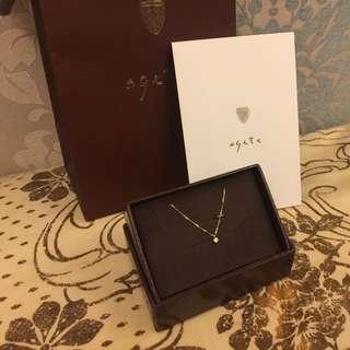 (暫放 不賣)Agete 日本購入 小鑽石項鍊 有購買證明 含盒含袋