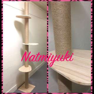 Solid Wood Cat Climbing Tree with Scratch Post [Extendable To Ceiling]