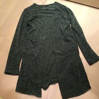 復古墨綠長版薄外套罩衫