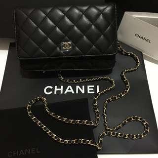 法國購入 香奈兒Chanel WOC 黑色經典菱格羊皮金鍊