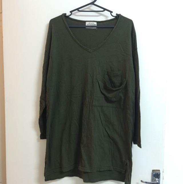 墨綠長版上衣