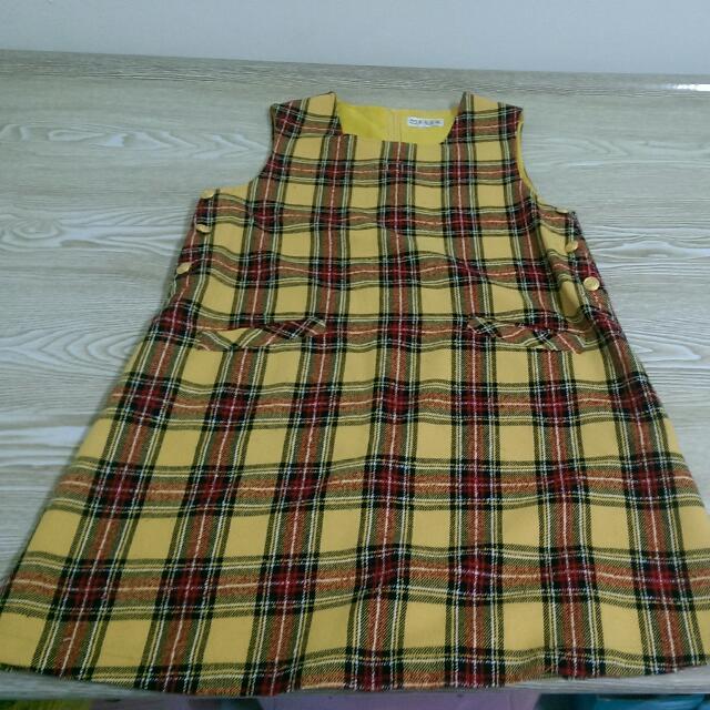 黃紅格子毛料洋裝