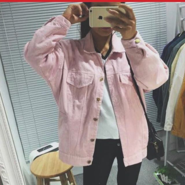 登絲絨外套 粉色