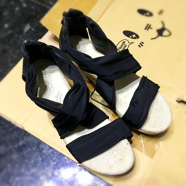 ✨交叉緞帶楔形鞋 涼鞋 高跟鞋✨