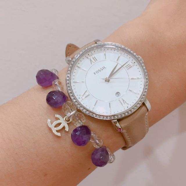 白水晶 紫水晶 純銀扣頭 手鍊