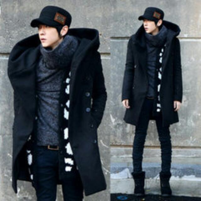 韓士長版黑色大衣外套 XL SiZE