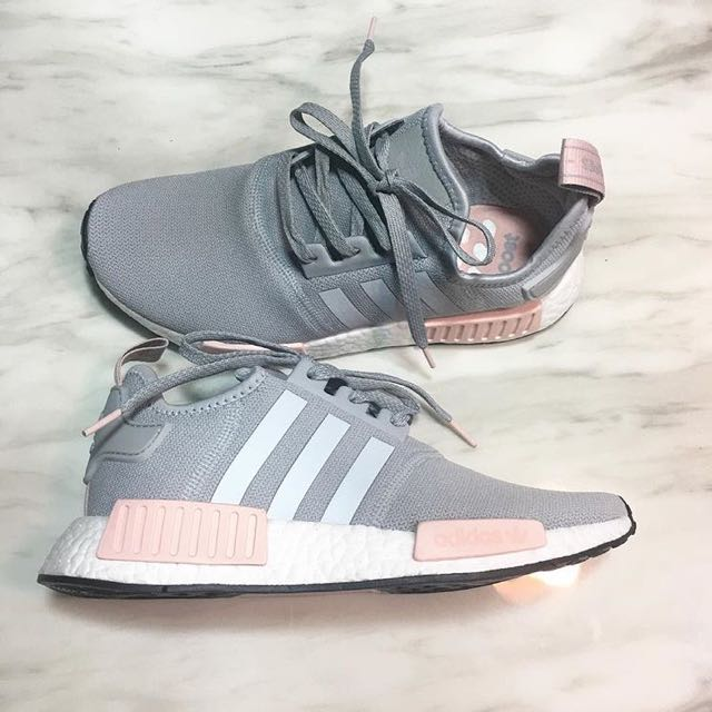 best loved 3b724 6b7b2 adidas NMD R1 Pink Grey, Women's Fashion, Shoes on Carousell