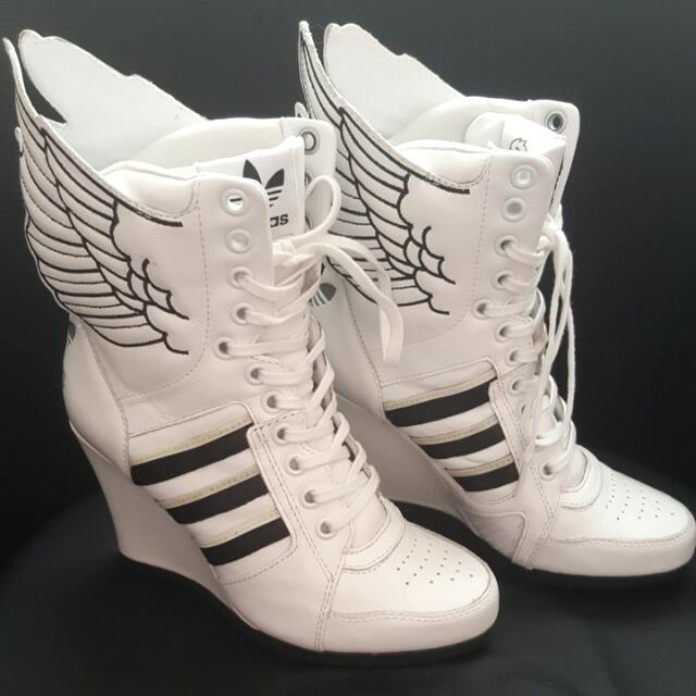 Adidas X Jeremy Scoot Limited Edition Wings Wedge High in White And Black