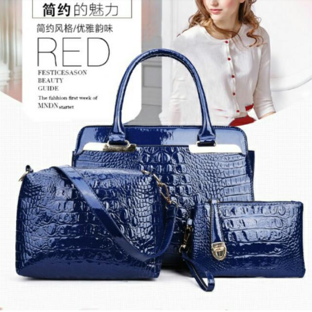 B2936 (3in1) MATERIAL PU SIZE L30XH23XW10CM WEIGHT 1000GR COLOUR BLUE