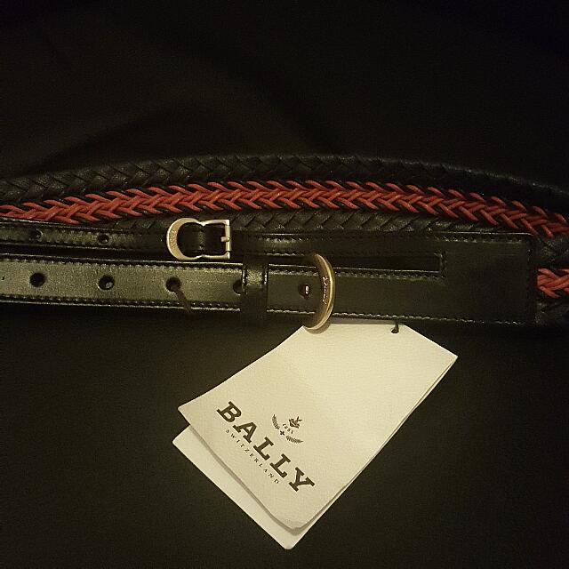 Bally Weave Double Buckle Belt, Black And Red