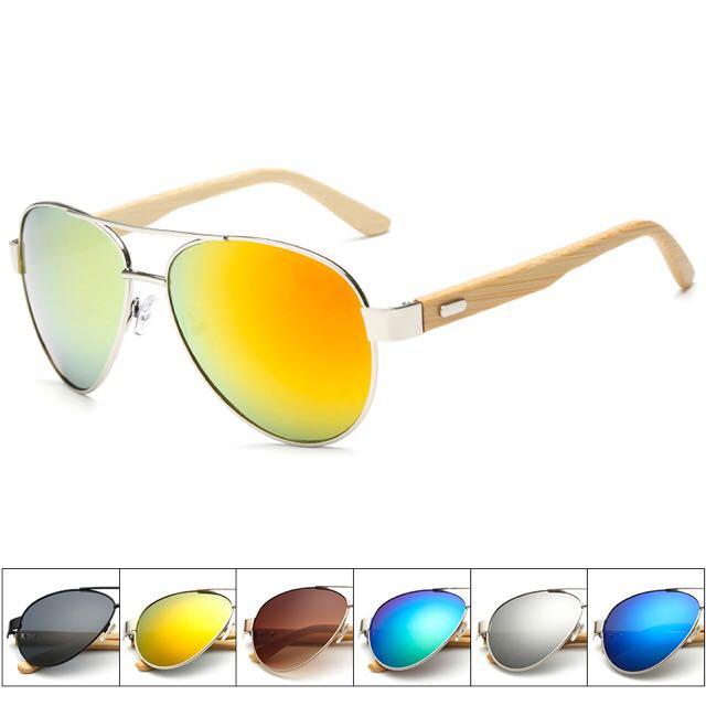 Bamboo Aviators Sunglasses