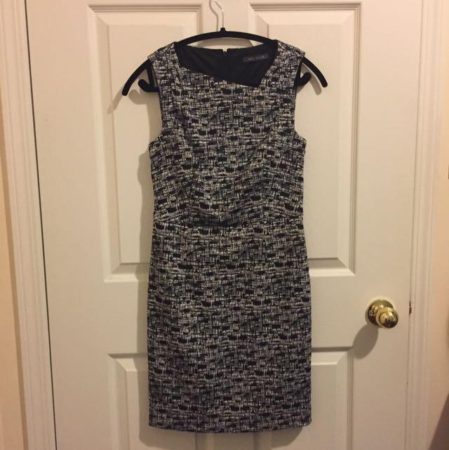 Black & White Asymmetrical Neckline Dress