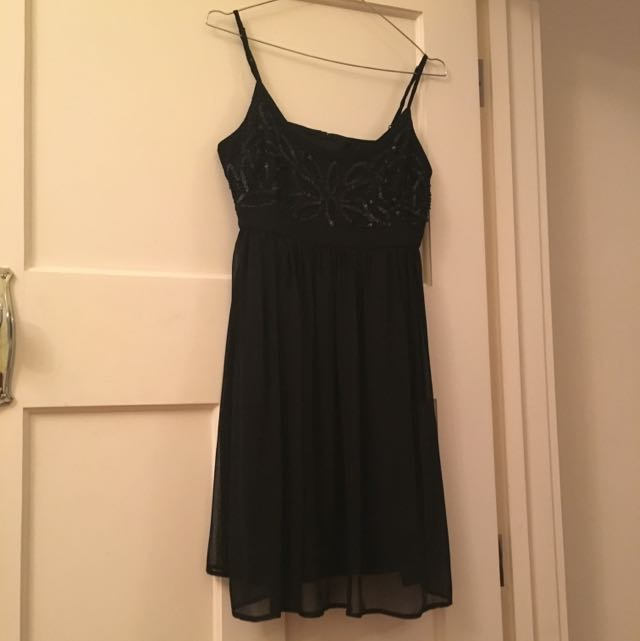 Black Shoe String Strap Sequence  Party Dress