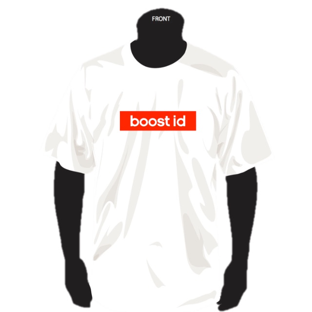 "BOOST ID official tees ""Essential Pack"" White Tee x Red Bogo"
