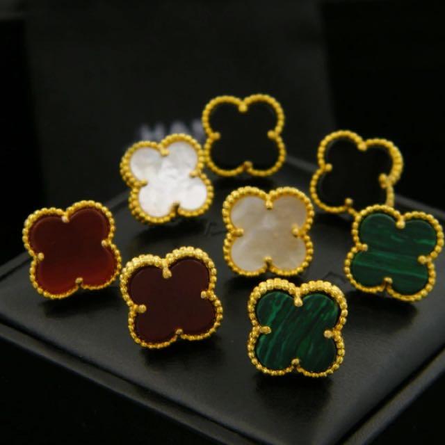 Brand New1.2cm four-leaf stud earring clovers all match class stud earrings for women brincos shell four leaf earrings