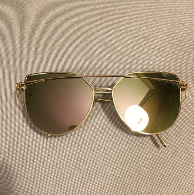 Designer Inspired Sunglasses, Gold, Mirror Lens, Gentle Monster