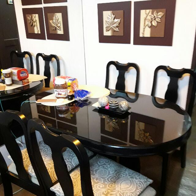Dining Table With Top Glass 4seater