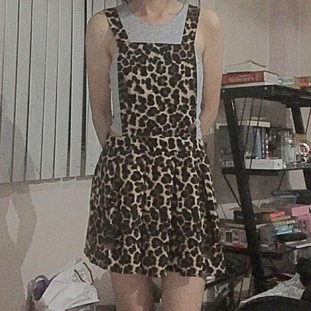 Forever 21 Overall Skater Dress (Leopard Print)