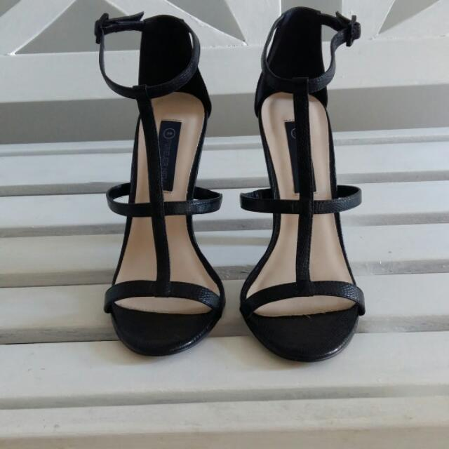 Forever New Black Strappy Heels Size 39