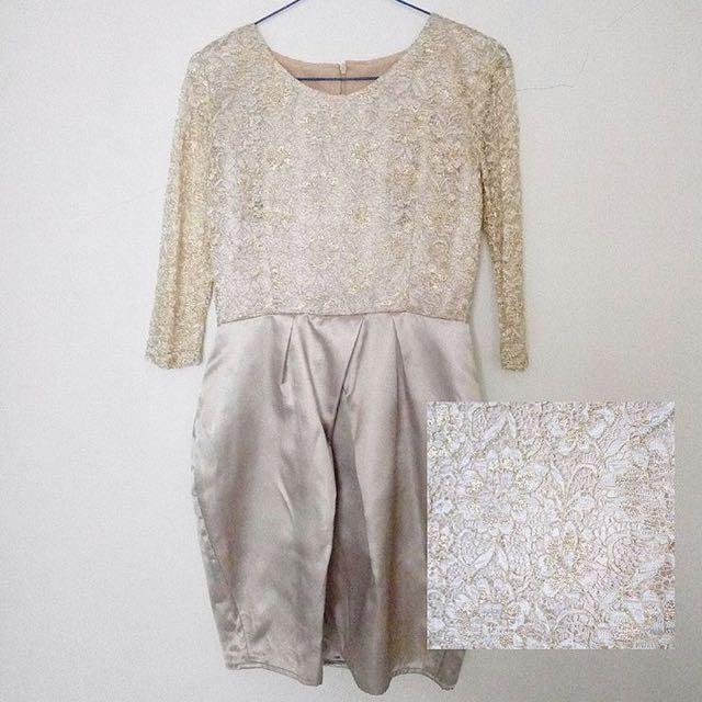 (FREE ONGKIR) Gold Lace Satin Dress