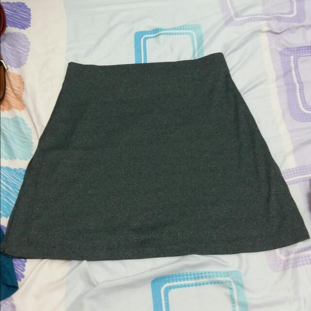 grey skirt with sides slit