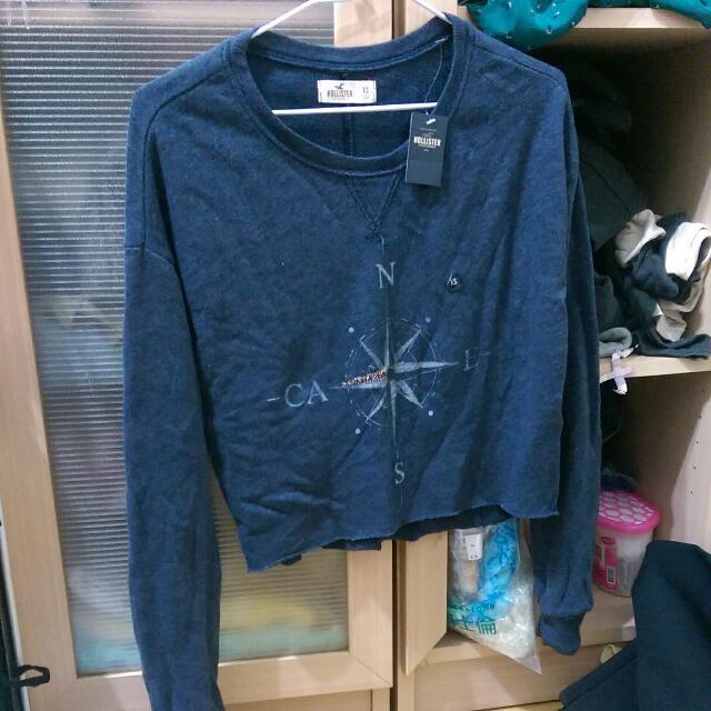 Hollister海鷗牌 短版長袖 xs 灰藍