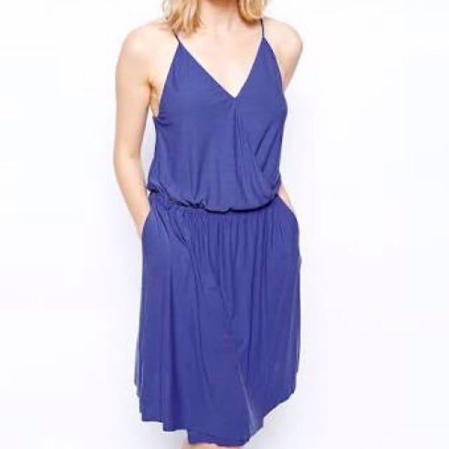 Just Female Blue Modal Wrap Dress ASOS