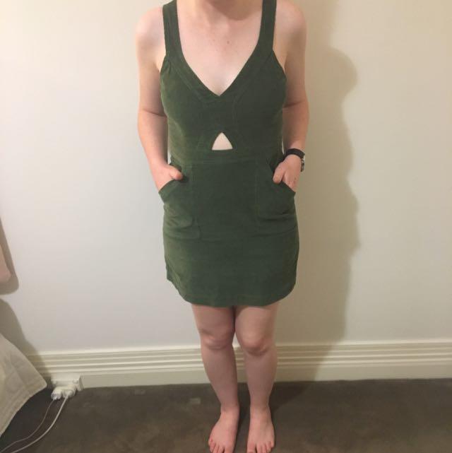 Khaki Green Mini Dress