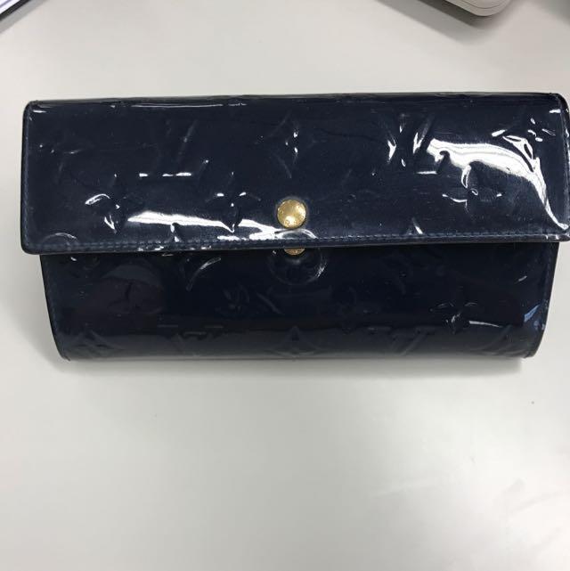 Louis Vuitton vernis Blue Sarah Wallet