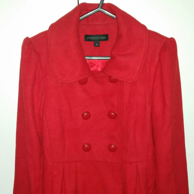 Lovely Red Coat, Wool Texture Perfect Condition!