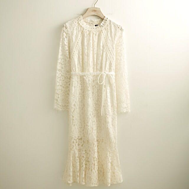 Lovfee 純白 蕾絲 魚尾 洋裝