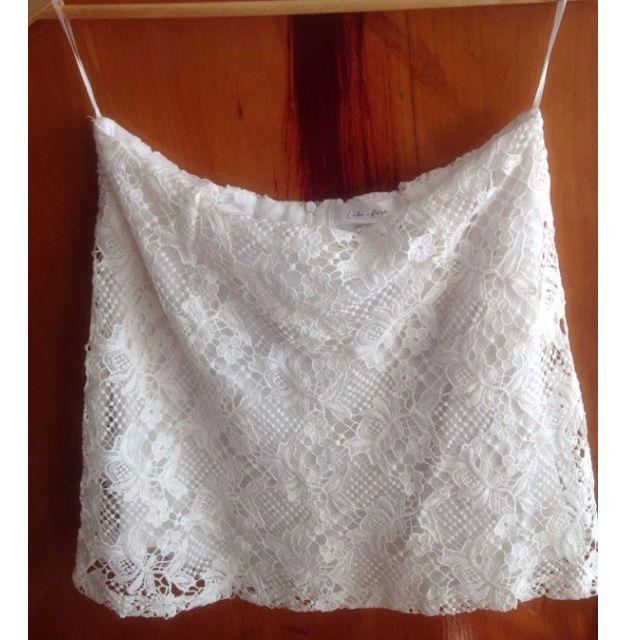 Luluu + Rose Crochet Lace White Skirt