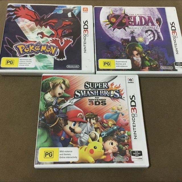 Nintendo 3DS Games Pokemon+ Zelda + Smash Bros