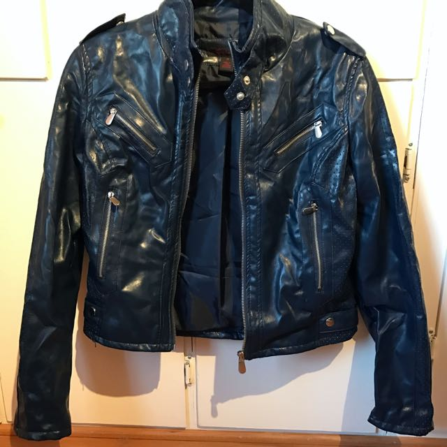 Pleather Navy Moto Jacket