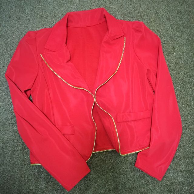 Red blazer with gold zipper detail