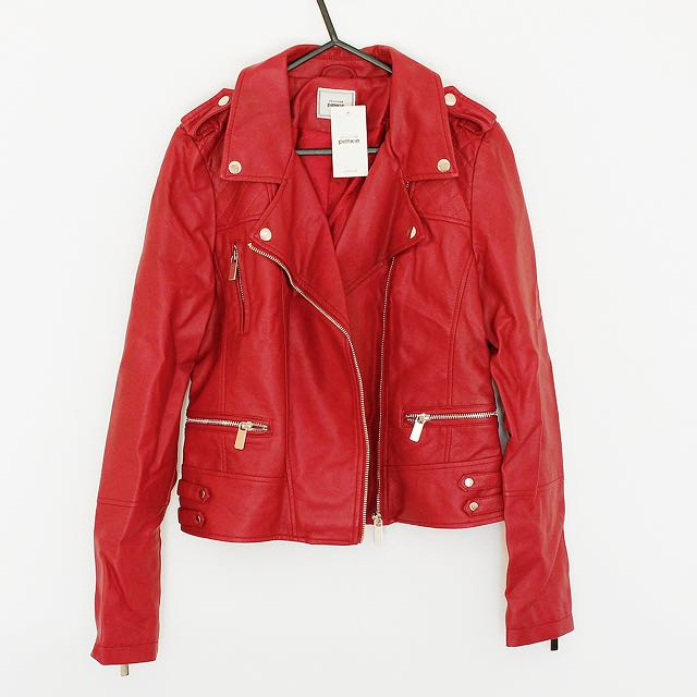 Red Leather Jacket - Brand New