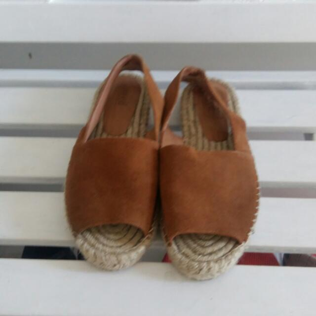 Seed Tan Suede Espadrilles Sandals Size 38