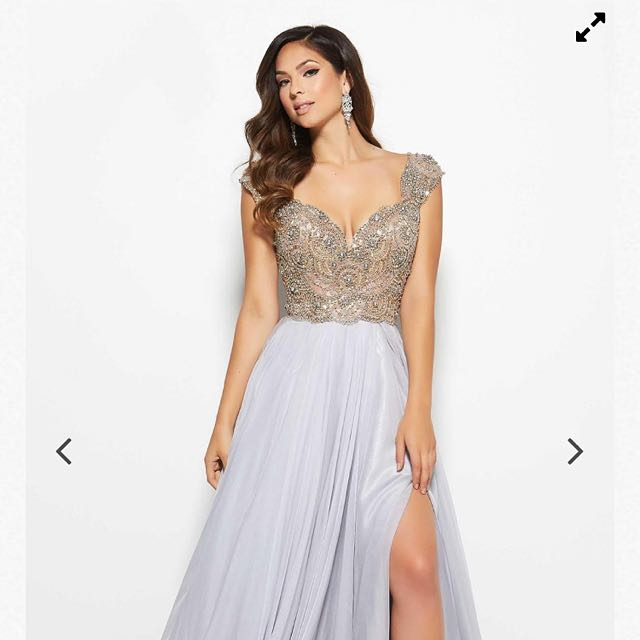 Silver Beaded Prom Dress