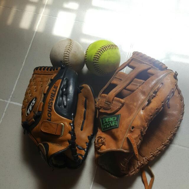 Softball Gloves And Ball
