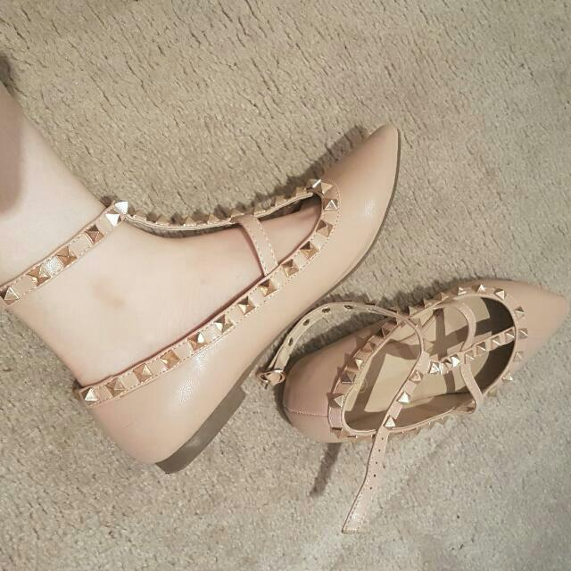 Studded Flat Shoes Nude Sz 38 Missguided