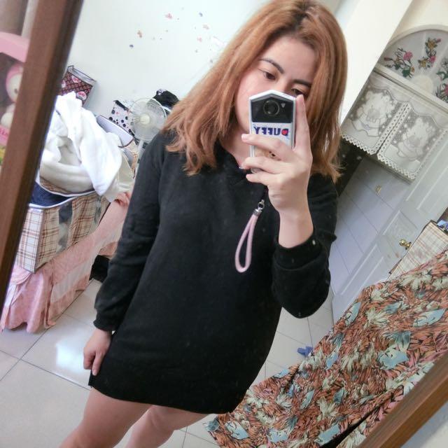 黑色刷毛T